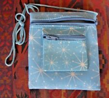 ZIP PURSE / BAG -  BLUE with WHITE SNOWFLAKES