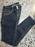 WallFlower embellished womens size 7 stretch blue faded boot jeans (3)