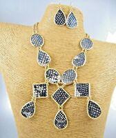 Elegant Dark Leather Print Gold Necklace Earrings Set Costume Women Jewelry
