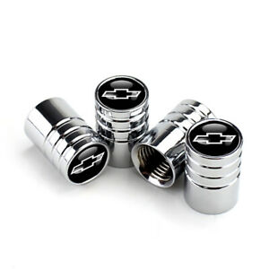 Valve Stem Caps Wheel Tire Silver For Chrome Chevy Chevrolet Black Bowtie Emblem