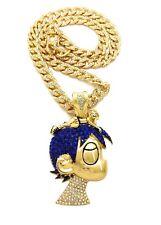 "~ 24"" Cuban Choker Chain Bling Necklace Lil Uzi Vert Cartoon Pendant & Iced 18"""