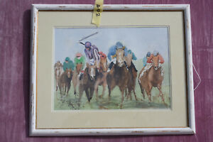 Watercolour Painting by Colin H. Walters. Horses Racing.