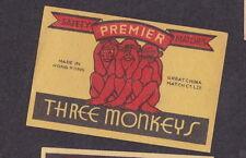 Ancienne  étiquette  allumettes Chine  BN18863 Les Trois Singes