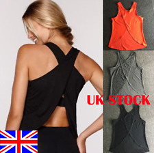UK Women Gym Sports Shirt Yoga Top Sleeveless Vest LadiesFitness Running Vest