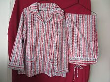 Lanz of Salzburg 2 Piece Set Red White Cotton Flannel PJ Top Pants L NEW