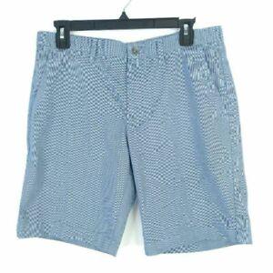 Calvin Klein Mens Shorts Blue Geometric Belt Loops Button Pockets Chino Size 32