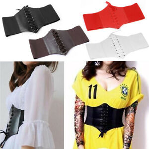 Women Lace-up Corset Retro Elastic Wide Cinch Belt PU Leather Stretch Waist Band