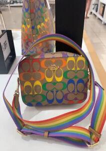 NWT Coach Pride Mini Camera Bag In Rainbow Signature Canvas C4227 So Popular!