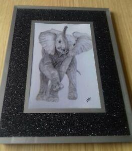 "ELEPHANT Baby 6 x 4"" Matt Photo Print Picture of Original Animal Drawing gift"
