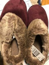 Isotoner Womens Henna Memory Foam Clog Slippers Shoes M 7.5-8 Faux Fur