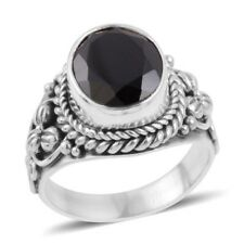 Brand New Sterling Silver Black Spinel Ring Size 5