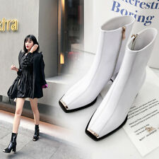 New Stylish Womens Square Toes Patent leather Block Heels Ankle Boots Shoes Supe