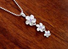 Hawaii Jewelry 925 Sterling Silver PLUMERIA PURPLE CZ Pendant Necklace SP40404