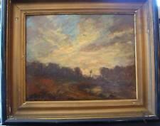 SUNSET Impressionistic LANDSCAPE 1915 ARCHIE WIGLE OIL PAINTING listed artist