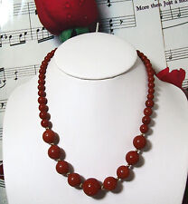 """Red Jasper Graduated Beaded Necklace with 14K GF Beads & Clasp. 16"""". J002"""