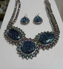 High End Mystic TOPAZ gems Blue Druzy Necklace .925 Sterling Silver & Earrings