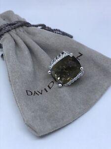 David Yurman Ster. Silver 16x20mm Wheaton ring Smoky Topaz & Diamonds Sz7
