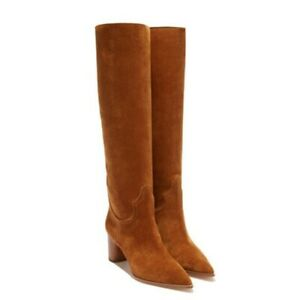 Ladies Womens Pointed Toe High Block Heels Suede Pull On Knee High Boots Knight