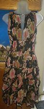 PSY Black Floral Silk Tiered Dress Size 6 (38 European)