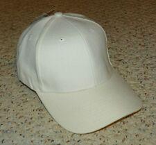 WHITE - BASEBALL CAP - PLAIN - LEATHER STRAP ADJUSTABLE BASEBALL HAT