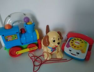 Baby toys bundle pull along Fisher Price Phone Dog Train 12-18 Months