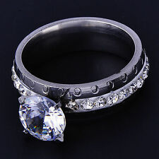 Stunning White Gold Filled Womens Wedding Clear CZ Band Ring Size 7