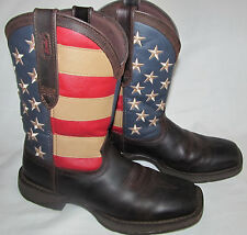 Mens Durango Rebel American Flag Brown Leather Cowboy Western Boots Size 9.5 D