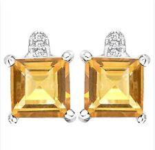 CITRINE & DIAMOND EARRINGS SILVER.3.03 CWT! EARTH MINED STONES WHITE GOLD LK NOV