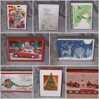 1 New Box HALLMARK Christmas Cards & Envelopes, Signature, Glitter- 24 Designs!