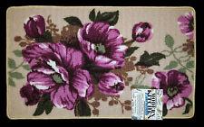 NWT PEONY PURPLE PINK FLOWER KITCHEN MAT FLORAL DECOR BEIGE NON SKID AREA RUG