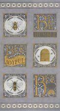 MODA BEE JOYFUL 100% cotton fabric Panel approx 24 x 44 DOVE GREY bees bee hive
