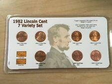 1982 Lincoln Cent 7 Coin Variety Set; BU; in Plastic Sleeve with Descrip. Card