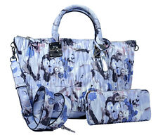 NEW Guess Floral Satchel Hobo Bag Handbag & Wallet Set, Blue