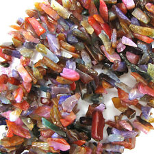 """10-14mm multicolor agate chip stick tooth beads 15.5"""" strand"""
