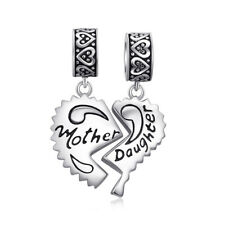 JewelryPalace Mother Daughter Split Heart 925 Sterling Silver Charm Fit Bracelet