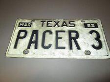 Vintage 1982 Texas Vanity Expired License Plate PACER #3 Dirt Track Racing