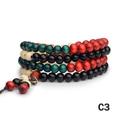 1P Sandalwood Buddhist Meditation 6mm*108 Prayer Bead Mala Bracelet/Necklace C3