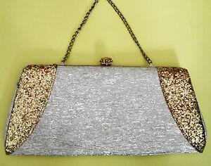 Vintage 60s Gold Glitter Lame Evening Bag Purse Handbag