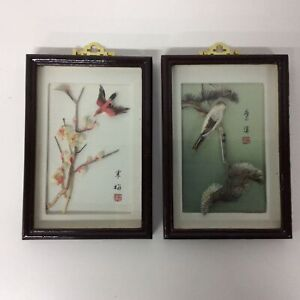 2x Chinese Three Dimensional Mixed Media Artworks Birds Flowers Framed #671