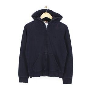 Carhartt Womens Full Zip Dark Navy Small Logo Hoodie Sweatshirt - Size M