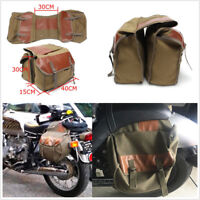 Old School Style Motorcycle Saddle Bag Travel Bag Back Pack Army Green Universal