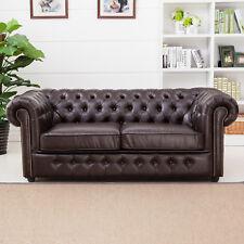 Sofa Chesterfield 3-Sitzer 3er-Sofa Antik in dunkelbraun glänzend mit Steppung