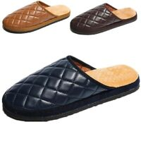 Men's Winter Warm Leather Slippers Comfy Mules Home House Casual Indoor Shoes