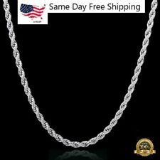 Diamond Cut Rope Chain Necklace Sterling Silver Solid 925 16-30 Real