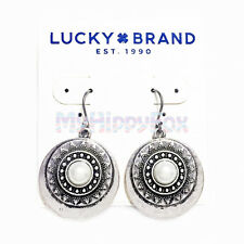Lucky Brand Antiqued Silver Tone Imitation Pearl Medallion Disc Drop Earrings