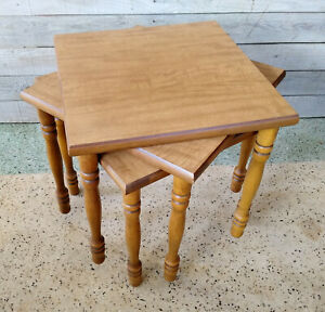 3 Vintage Mid Century Square Stacking Nesting Wood End Tables