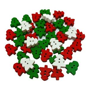 80 WOODEN TREE BUTTONS - XMAS COLOUR MIX - CRAFT - SCRAPBOOK - SEW - CARDMAKING