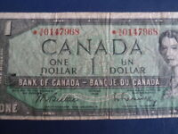 1954 Canada 1 Dollar Replacement Bank Note-*AA0147968-  21-53