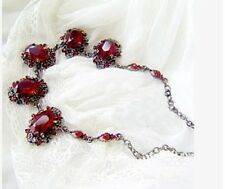 ANTIQUE GUN TONE VINTAGE VICTORIAN  LOOK CHUNKY RED CRYSTAL NECKLACE