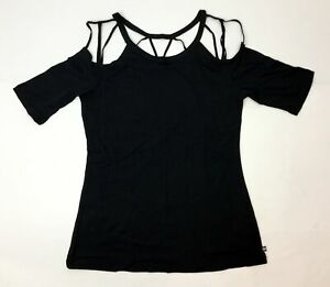 Fabletics Women's Black Size Medium Athletic Elbow Sleeve Sunburst T-Shirt